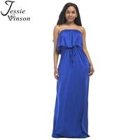 Jessie Vinson Kobiety Moda Bez Ramiączek Plus Size Wieczór Maxi Dress Lato Rury Wzburzyć Bez Rękawów Długa Sukienka Wieczór Party Dress