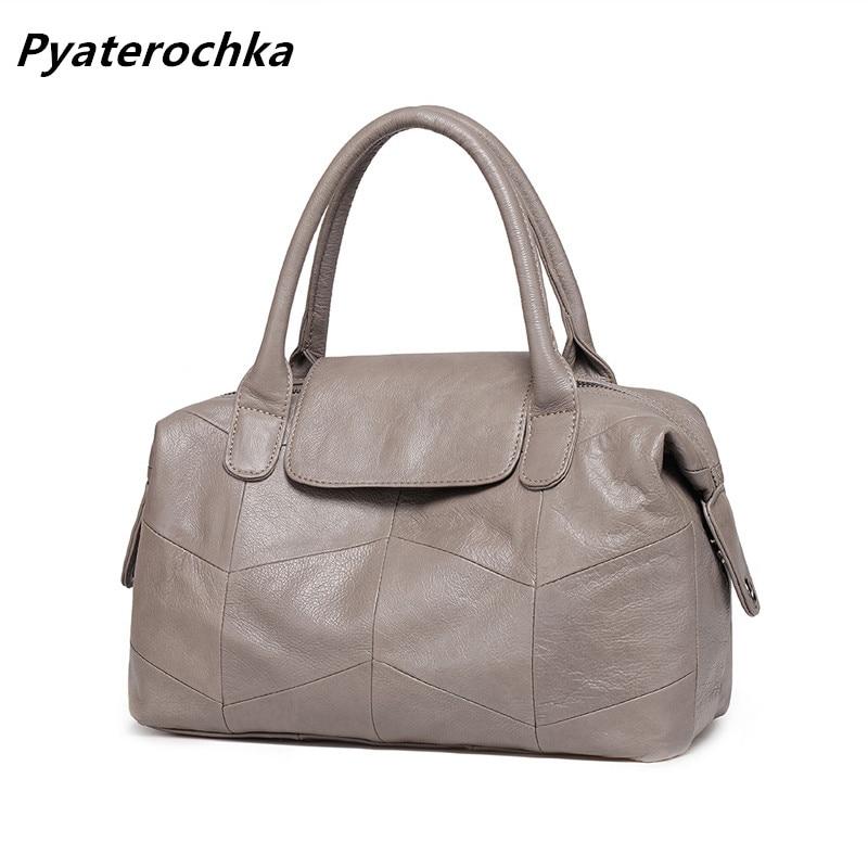 все цены на Pyaterochka Genuine Leather Handbags Women Fashion Hobos Luxury Shoulder Bags Famous Brand 2018 Ladies Casual Tote Bao Bao Bag