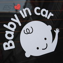 "Car Styling ""Baby In Car"" Waving Baby on Board Safety Sign Cute Car Decal / Vinyl(China)"