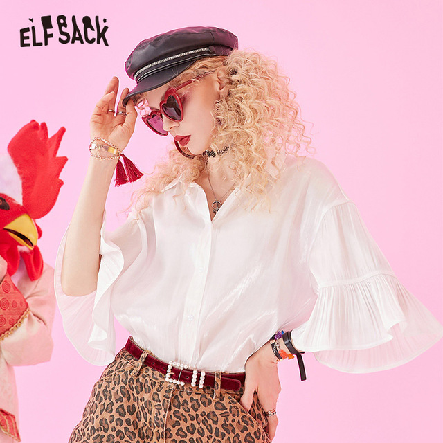ELFSACK 2019 Zomer Nieuwe Toevallige Vrouwen Blouses Mode Ruches Basis Vrouwelijke Shirts Solid Butterfly Mouwen Wit Vrouw Kleding