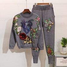 Damski sweter kombinezon i zestawy z dzianiny w stylu Casual swetry swetry spodnie 2 szt. Dresy damskie spodnie typu Casual + bluzy topy zestaw damski