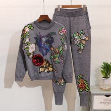 Women Sweater Suit and Sets Casual Knitted Sweaters Pullover Pants 2pcs Track Suits Woman Casual Trousers+Jumper Tops Women Set
