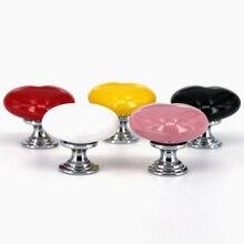 1x de corazón de cerámica Tiradores para cajones de cómoda cajón perillas niños manija de la puerta del armario decoración para chicas blanco rosa rojo amarillo negro rojo perilla
