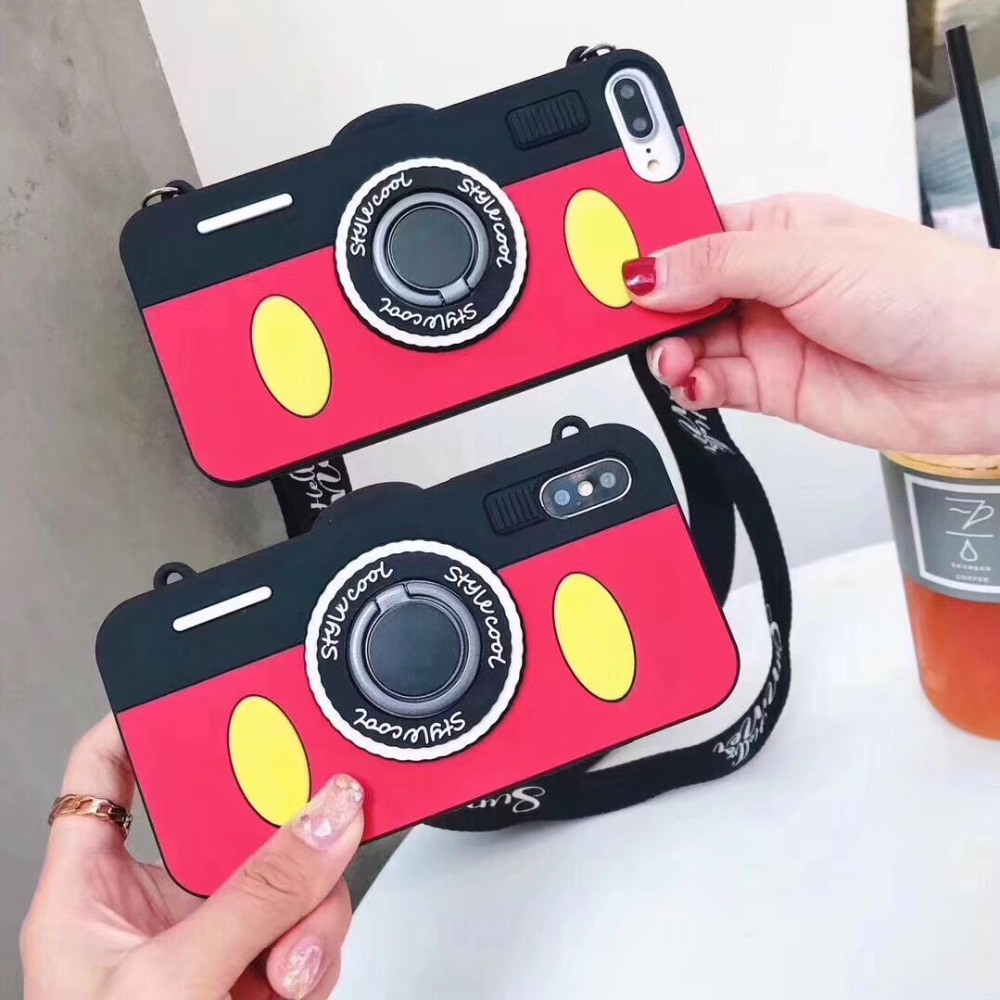 Cute Cartoon Bracket Lanyard camera Phone case For iPhone 6 6s 8 7Plus 8Plus X XS XR XSMax Back Case Coque