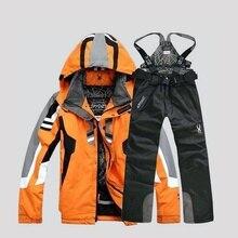 Высококачественный Зимний лыжный костюм для мужчин, лыжная куртка, брюки, водонепроницаемые комплекты для сноуборда, лыжный спортивный костюм для сноуборда