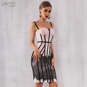 Image 5 - Adyce 2020新夏包帯ドレス女性のセクシーなレースボディコンスパゲッティストラップクラブミディホットセレブイブニング滑走路パーティードレス