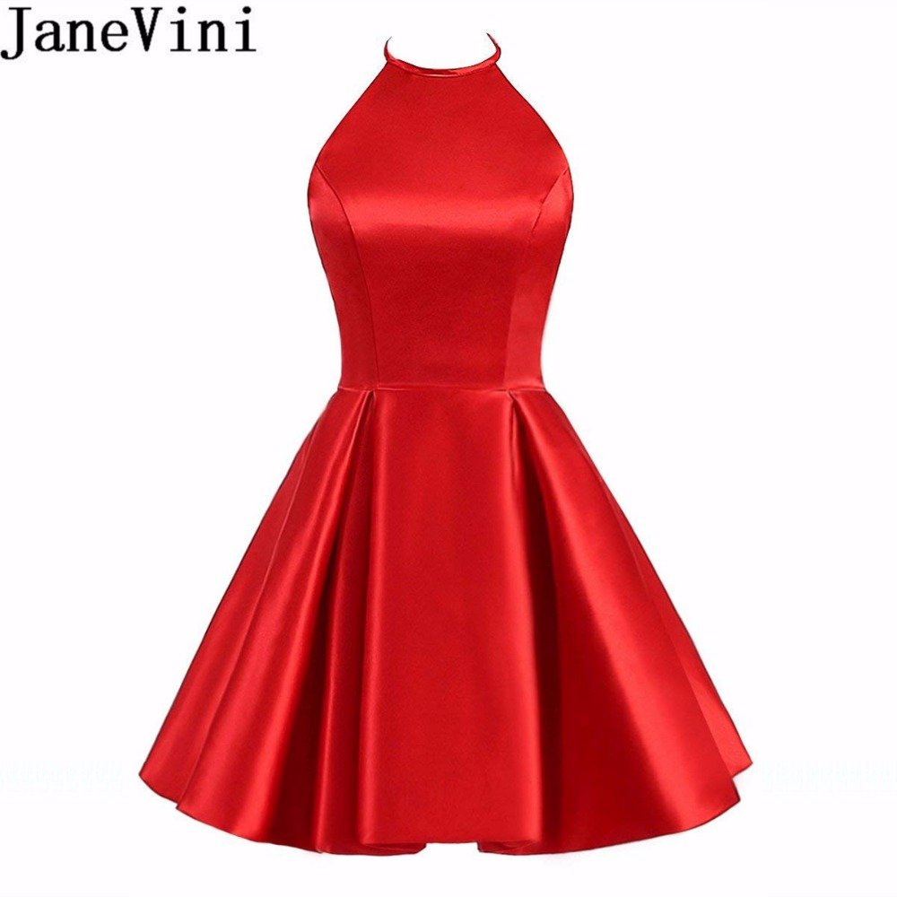 JaneVini Simple Halter Satin   Bridesmaids     Dresses   for Women Wedding Party   Dress   Backless A Line Girls Short Homecoming   Dress   2018