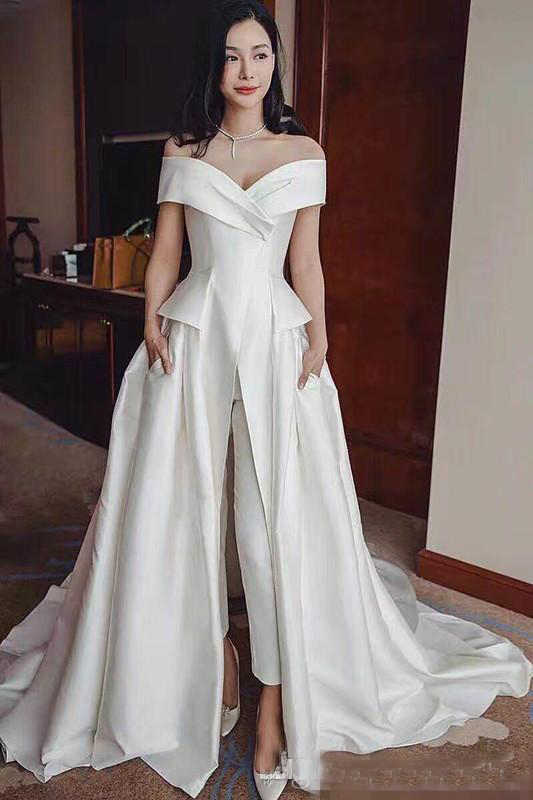 4d43c849e ... Elegant White Jumpsuit Evening Gowns 2019 Off Shoulder Ladies Party  Occasion Prom Dresses Pant Suits Long ...