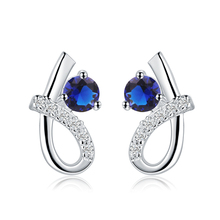 2017 hot fashion round earrings luxury AAA + blue crystal silver   earrings female jewelry retro temperament