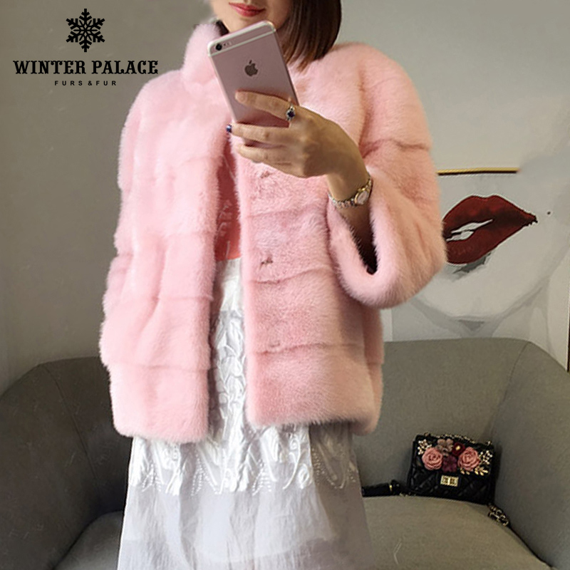 Image 3 - 2018 winter New style  fur cat natural mlnk stand Collar good quality mlnk fur coat 60 cm long coats of fur Fashion Slim Fur