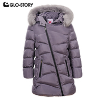 GLO STORY 2018 Teenage Girls Parkas Kids Girl Wrap Zipper Long Thick Warm Winter Coats with Adjustable Fur Hoodie GMA 6451