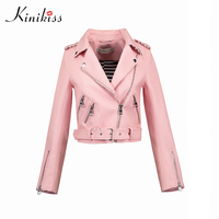 Kinikiss Motorcycle PU Leather Jacket Women Winter Autumn New Fashion Coat Pink Zipper Outerwear Jacket New