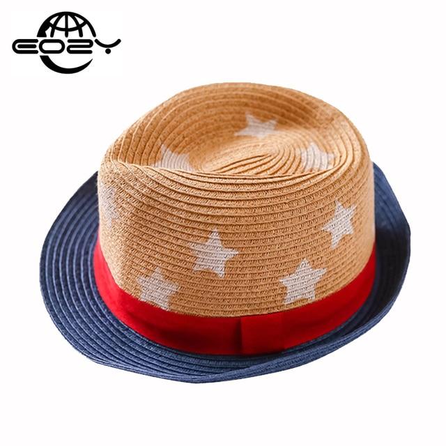 Kids Summer Cute Stars Print Patchwork Sunhat For Child Jazz Cap Beach  Panama Hat Girls Boys 1f28a92f317e