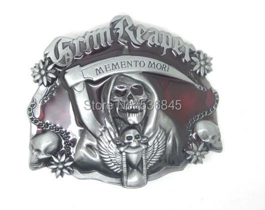 Grimas Reaper Memento Mori kaukolės diržo sagtis