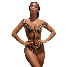 2018 hot retro black swimsuit underwire push up high waist bikini set sexy women swimwear high waist bathing suits biquni 2018 New Women Swimsuit Sexy Leopard Print Bikini Set Push Up Off The Shoulder High Waist Bathing Suits Lace Up Swimwear Biquini