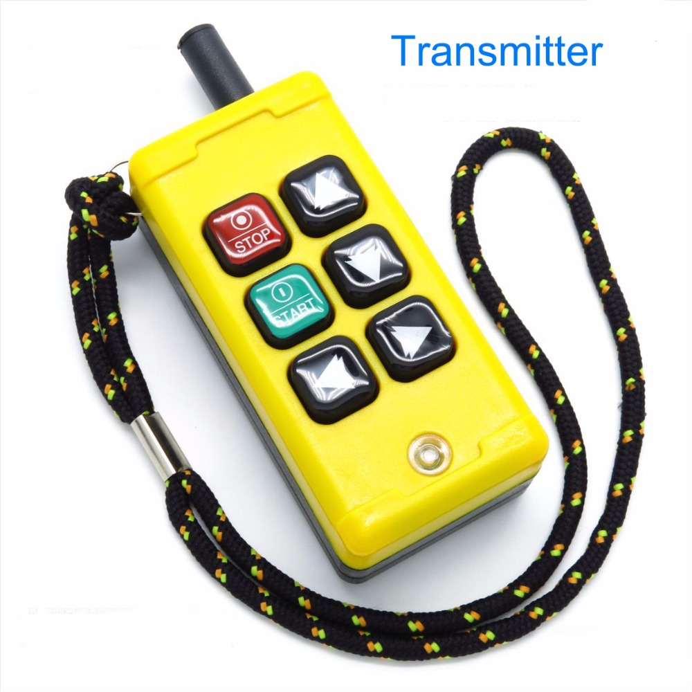 6 channelIndustrial Wireless Radio remote controller Switch for crane 1 receiver and 1 transmitter push button switch AC380V in Switches from Lights Lighting