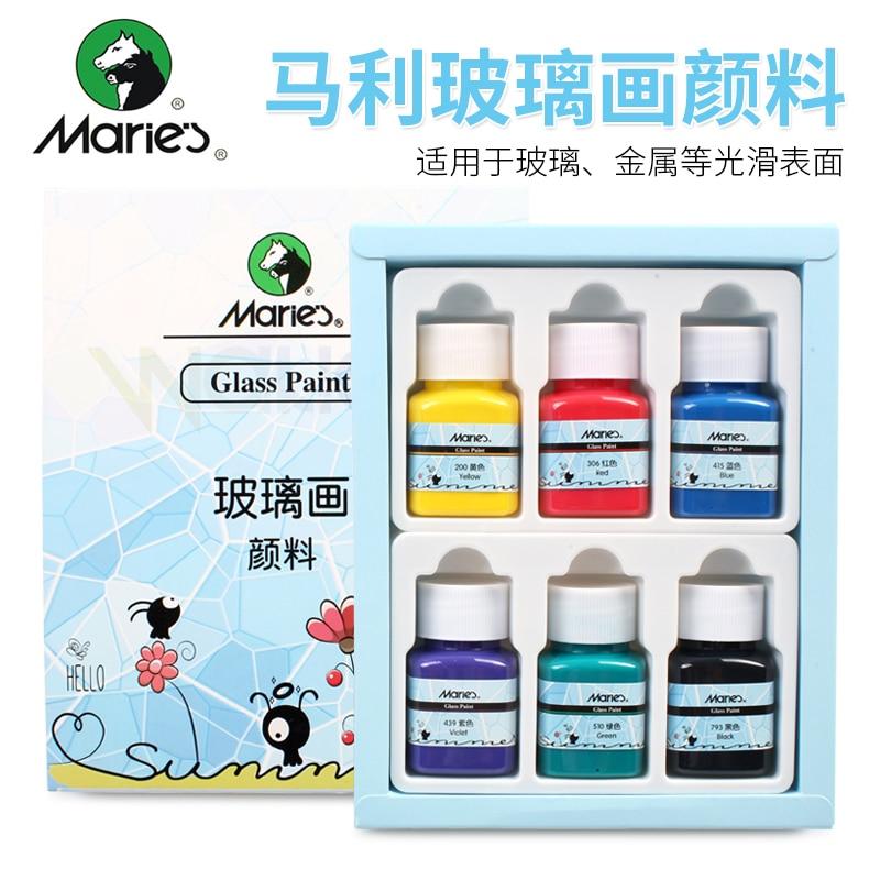 Marie's 6 Color/9 Colors Ceramic Paint Glass Paint Set Handmade Diy Graffiti Painted Porcelain Vase Paint Waterproof Sunscreen