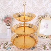 Gold Plate Metal Wedding Cake Stand Sweet Fruit Nut Tray Charger Plates For Home Christmas New Year Wedding Table Decoration