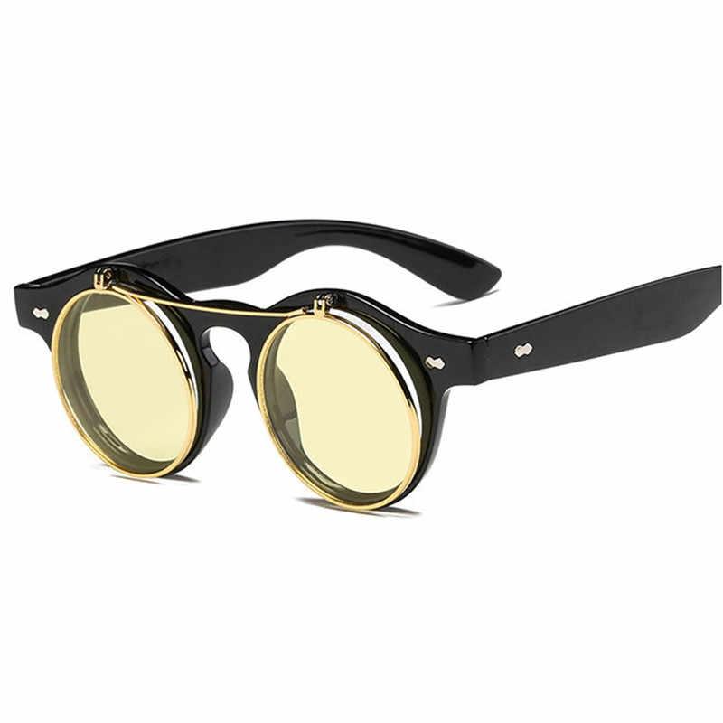 Модные Винтаж круглый в стиле ретро панк Солнцезащитные очки Классические двойные Слои раскладушка Дизайн красный объектив солнцезащитные очки де Sol FML