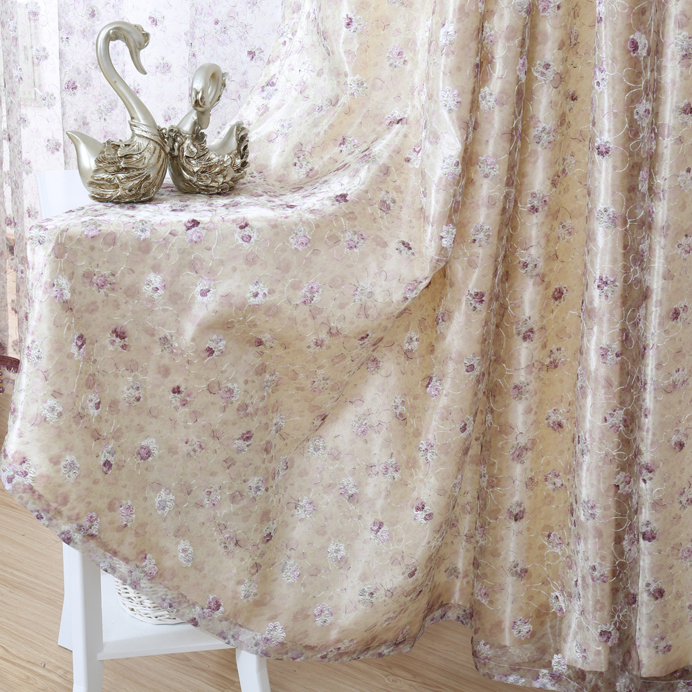 Embroidered Sheer Curtains One