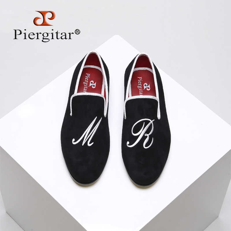 Piergitar 2019 New style men casual shoes with custom personality letters embroidered Party and Wedding men velvet loafers
