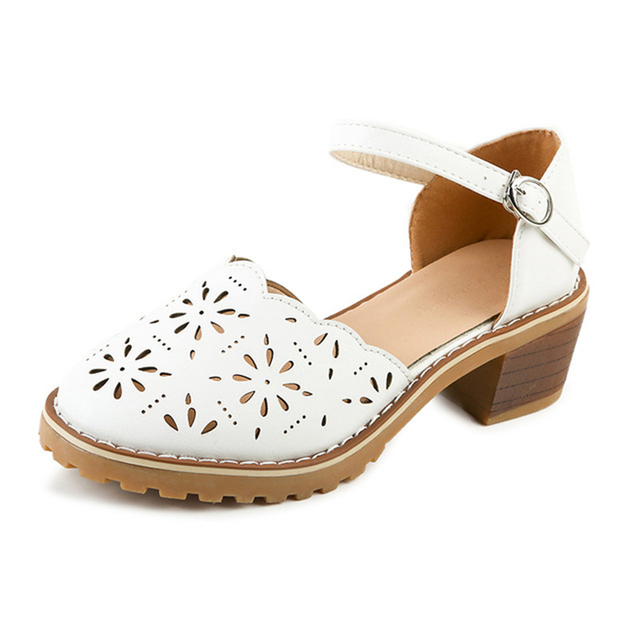 Hollow-Carved Women Sandals 2018 Summer Style Retro Platform White Sandals Comfortable High Hoof Thick Heels Shoes Plus Size 9 2