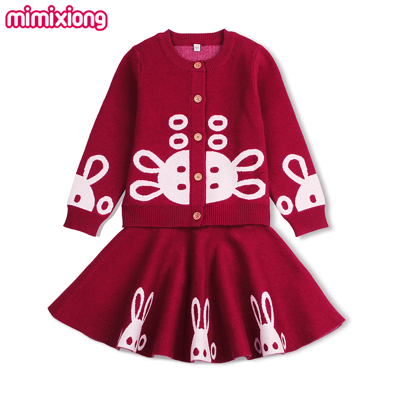 2017 Kids Girls Skirt Outfits Adorable Rabbit Knitted Sweater Cardigan + Pleated Skirts Clothing Sets Fall Winter Outerwear Warm school girls brand cardigan clothes sets knitted sweater wave skirt 2pcs winter autumn warm children clothing kids outfits w75
