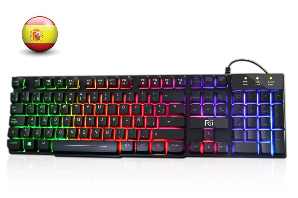 Rii RK100+ Spanish Keyboard USB Backlit Keyboard, Rainbow Colors And Sturdy Metal Panel, Highly Sensitive Game QWERTY