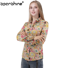 SPARSHINE New Women Blouses 2017 Blouse Long-sleeve Print Shirts Casual Floral Blusas Femininas Camisas Plus Size Women Clothing