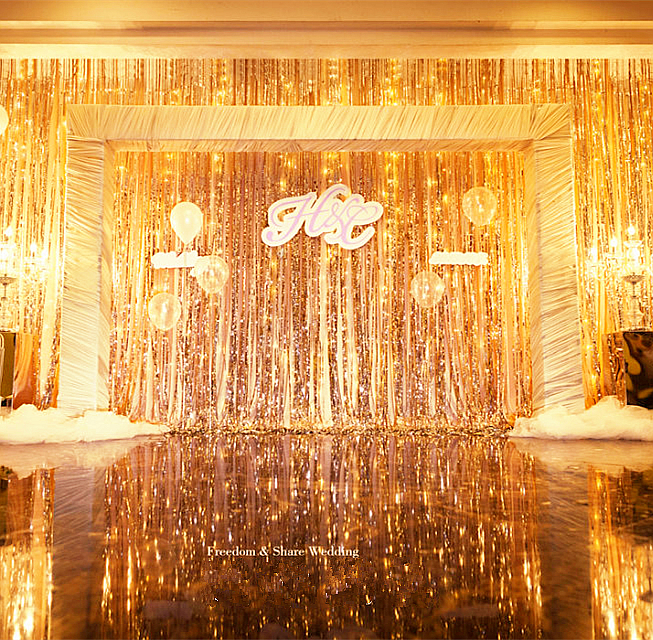 3ftX10FT Metalic Gold Fringe Curtain Photo Backdrop Hanging Curtain Window  Doorway Decor Curtain Birthday Supplies 5