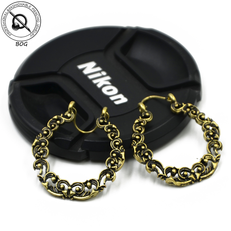 Fashion Boho Long Drop Earrings For Women Jewelry Vintage Brass Gold Tone Ornate Swirl Hoop Gypsy Indian Pending Earring