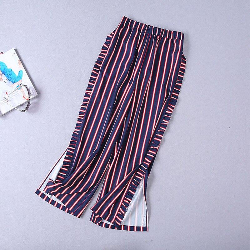 Femme Slim Mode Costumes Twin Élégante Pleine Imprimé set Femmes Chemise Automne Rayé 2018 Lady Arrivée Pantalon Manches Multi Nouvelle Officielle wwqSf4