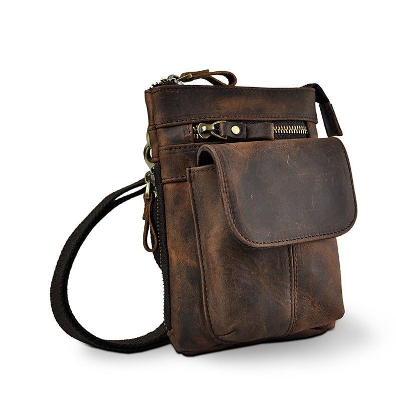 Fashion Mens Leather Multifunction Shoulder Satchel Bag Designer Cigarette Case Phone Pouch Hook Belt Waist Bag Pack 611-18-d
