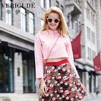 Veri Gude Women Crop Top Long Sleeve Cotton Shirt Hidden Buttons Loose Waist Fashion Tops