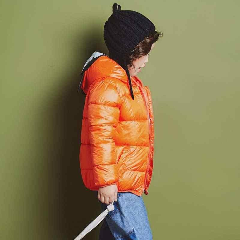 BOTEZAI/модные зимние пуховики для мальчиков и девочек; детская одежда с капюшоном и милым Микки; детская одежда; верхняя одежда