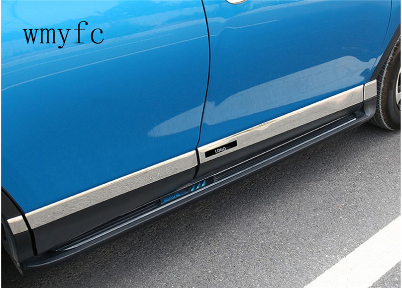 For New Toyota RAV4 2016 2017 2018 Stainless Steel Side Door Body Molding Lid Cover Trim Auto accessories 8pcs car stainless steel abs chrome side door body trim stick strip molding stream lamp panel bumper for toyota rav4 2016 2017 2018