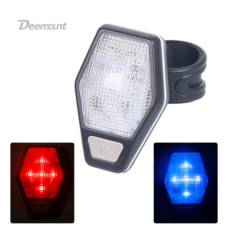 Deemount Bicycle Visual Warning Safety Light Bike Rear Lamp Cycle LED Lantern Red / Dual Colors Red Blue options 10pcs x red blue zone forklift danger zone warning light 10 80v 18w red safety zone warning led work lamp