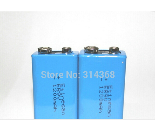 2 pcs/lot 9V 1200mAh Lithium Battery for Smoke Alarms, Toys, Wireless Cameras, Mics ETC