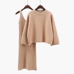 Image 3 - 2018 Autunno Womans Maglione + Straped Vestito Set di Colore Solido Femminile Casual a Due Pezzi Dei Vestiti Maglione Allentato Knit Mini del Vestito di Inverno