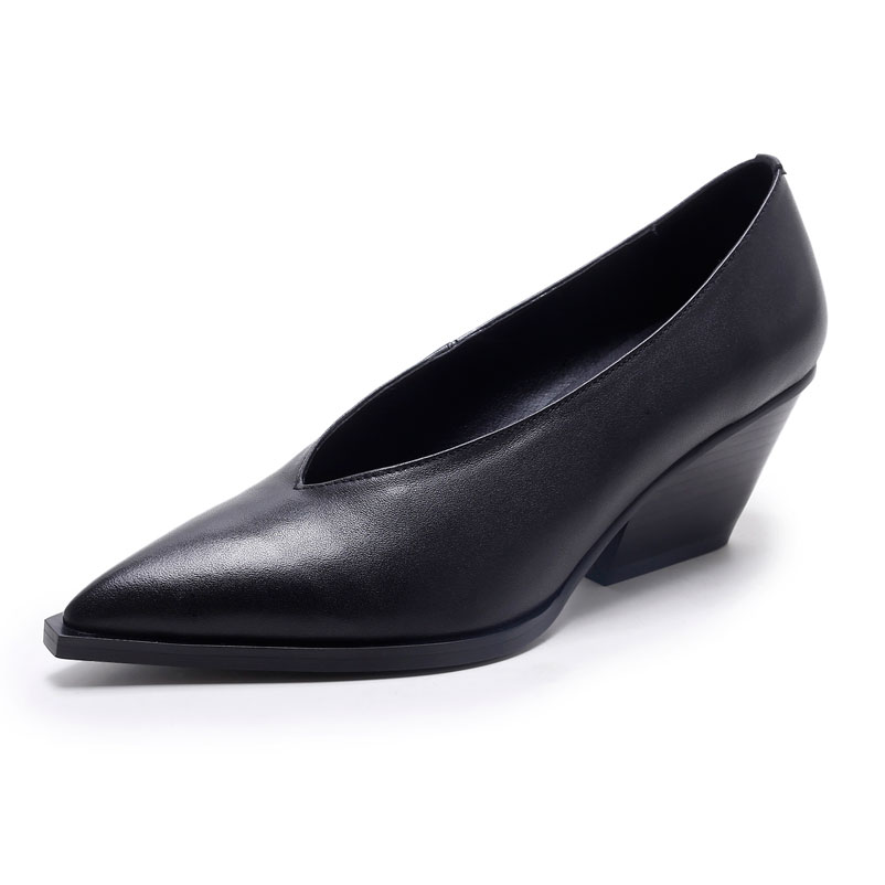 Shoes Woman Fashion European Med Heels Genuine Leather Pumps Slip On Ladies Shoes Spring Autumn 2016 Pointed Toe Pumps free shipping 2016 spring autumn pointed toe rhinestone med heels woman shoes big size40 21 42 43 nubuck leather pumps shoes