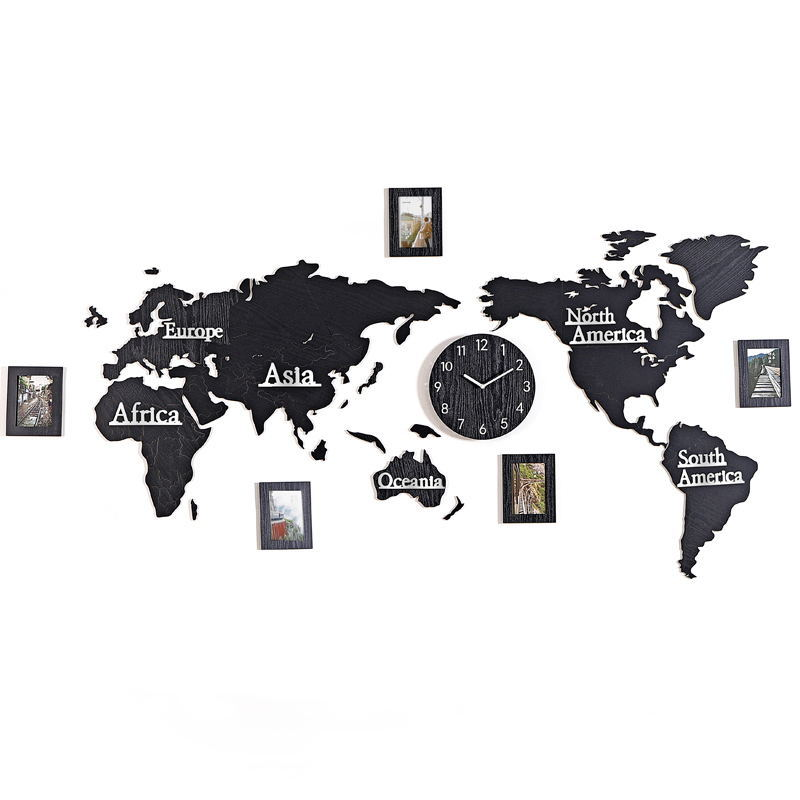 New Wooden Digital Wall Clock DIY 3D World Map With 3 pieces Photo frame Living room