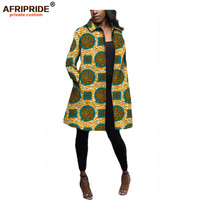 2019 Fall african women coat AFRIPRIDE Full sleeves long casual coat with two pockets super wax cotton plus size A722404