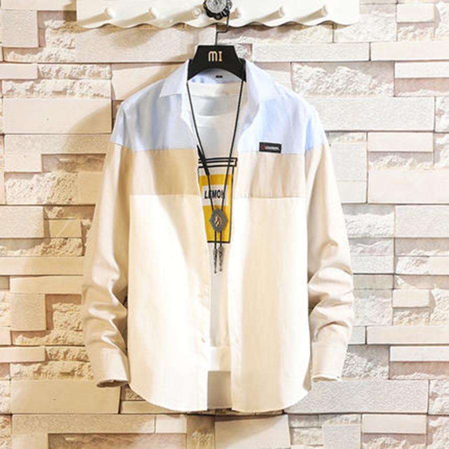 Casual Patchwork Shirt 2019 Spring Men Button Big Size Korean Style Clothes Summer Slim Fit Fashions Camisa Men Dress 50CS034 1