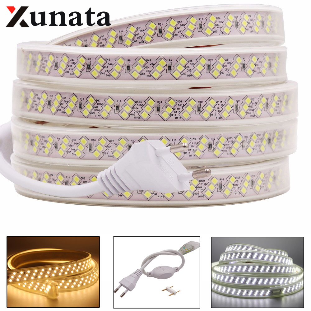 276Leds/m SMD 2835 Led Strip Light AC 220V 230V High Bright Led Light Stripe Waterproof Led Ribbon Diode Tape Warm White/White