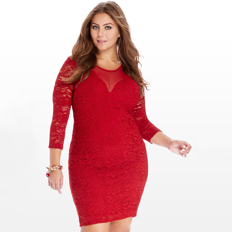 New Women Autumn Lace Dress 4XL 5XL 6XL Large Size Red Slim Long Sleeve Dress Zippers Big Sizes European Style Women's Dresses