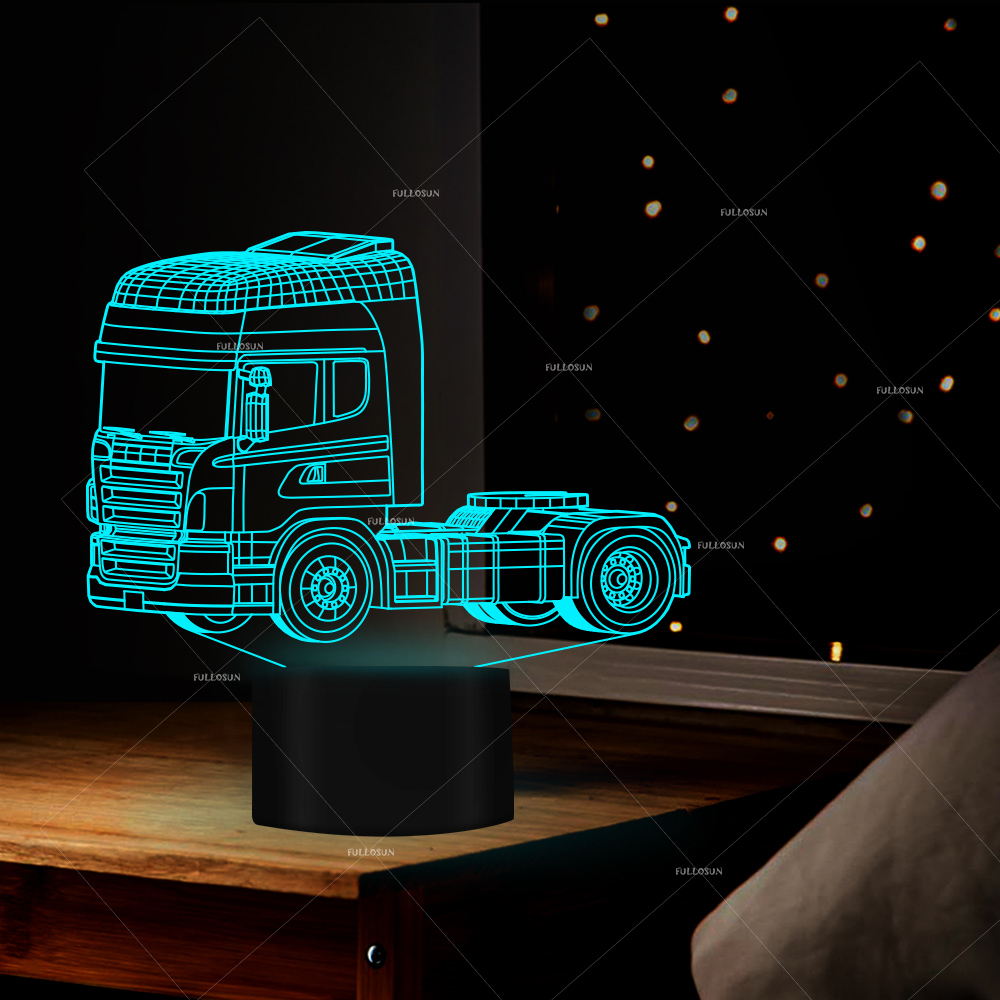 Super Led Heavy Truck Shapes Night Light 7 Changing Colors 3d Illusion Night Lamp Touch Switch USB Cable
