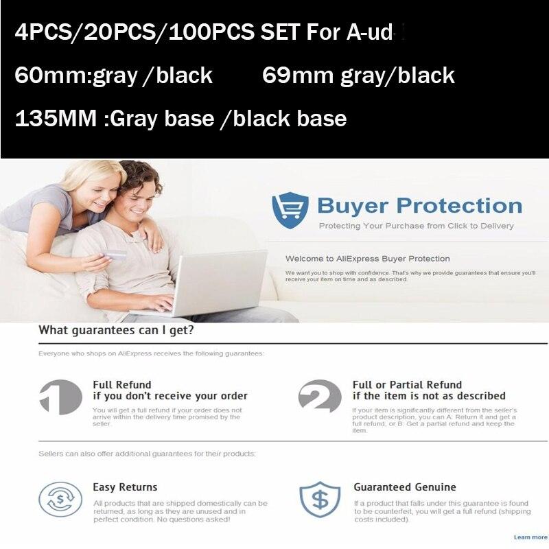 4pcs/20pcs/100pcs of 60mm/69mm/135mm clips/claw black Gray Color car emblem badge rims wheel Hub Covers auto caps label