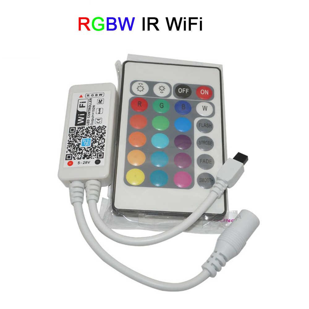 Mini wifi LED sans fil rvb/RGBW contrôleur RF télécommande IOS/Android téléphone intelligent pour RGBCW/RGBWW RGB bande de LED, DC12-24V
