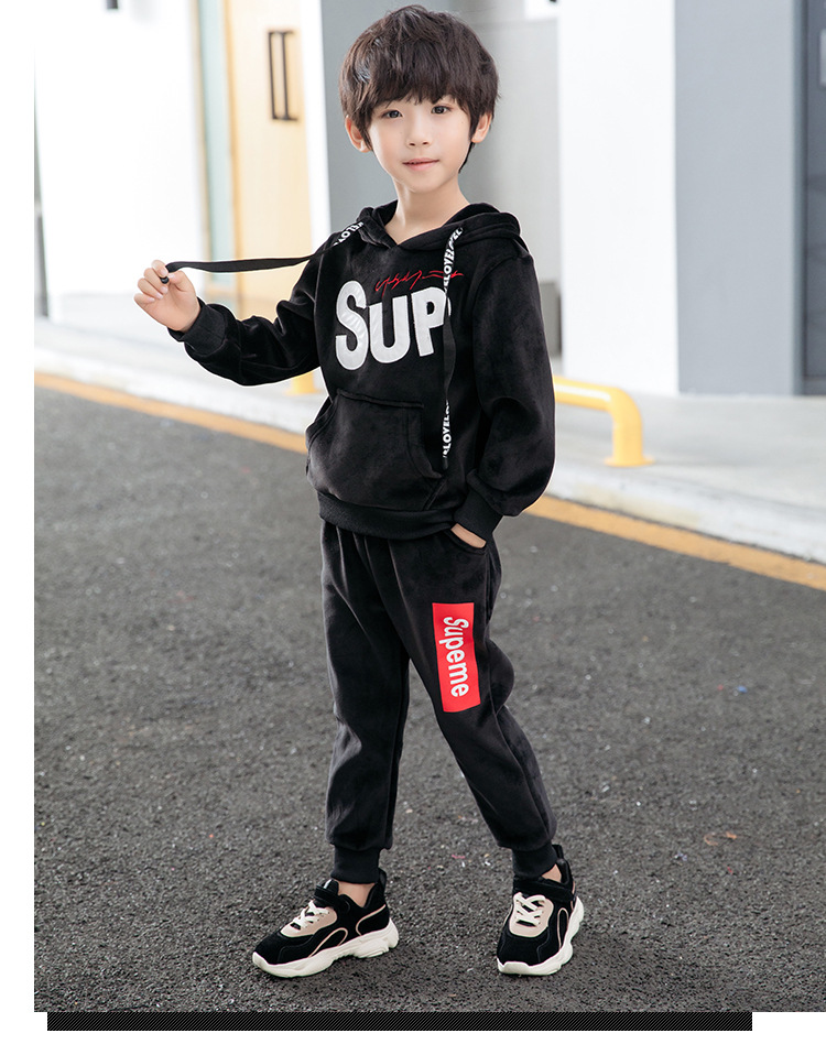 2018 Velvet Autumn Winter Kids Clothes Boys Clothing Set Sports Suit Boys Hooded Jacket And Pants2018 Velvet Autumn Winter Kids Clothes Boys Clothing Set Sports Suit Boys Hooded Jacket And Pants