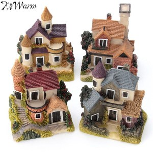 1Pcs Mini Resin House Miniature House Fairy Garden Micro Landscape Home Garden Decoration Resin Crafts 4 styles Color Random(China)